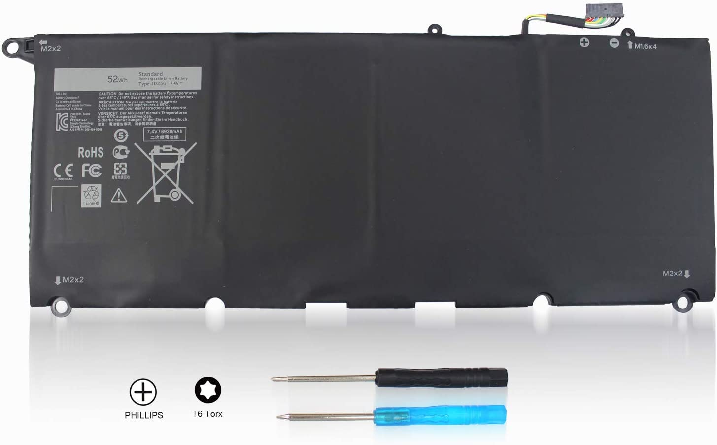Shareway 7.4V Replacement Laptop Battery for Dell XPS 13-9343 13-9350 JD25G JHXPY RWT1R 5K9CP 0N7T6 90V7W 090V7W 0DRRP 00DRRP