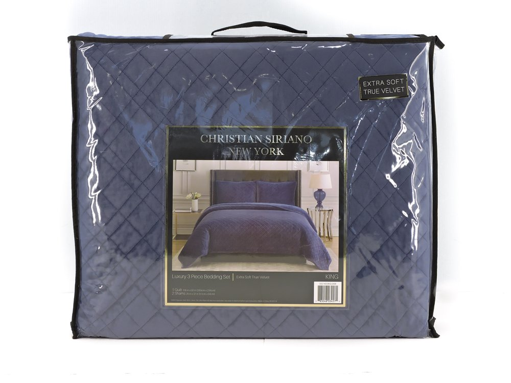 Christian Siriano New York Luxury 3 Piece Velvet Quilt Bedding Set (Queen, Blue)