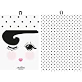 """Tea towel """"open and closed""""/dots 2 ass. wht W:50 H:70 cm [W]"""