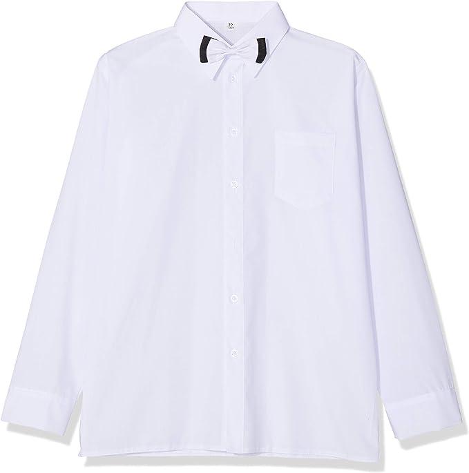 Niños Camisa Blanca Formal con Lazo y Manga Larga. Boda Bautizo Smart Fiesta Escuela.: Amazon.es: Ropa y accesorios