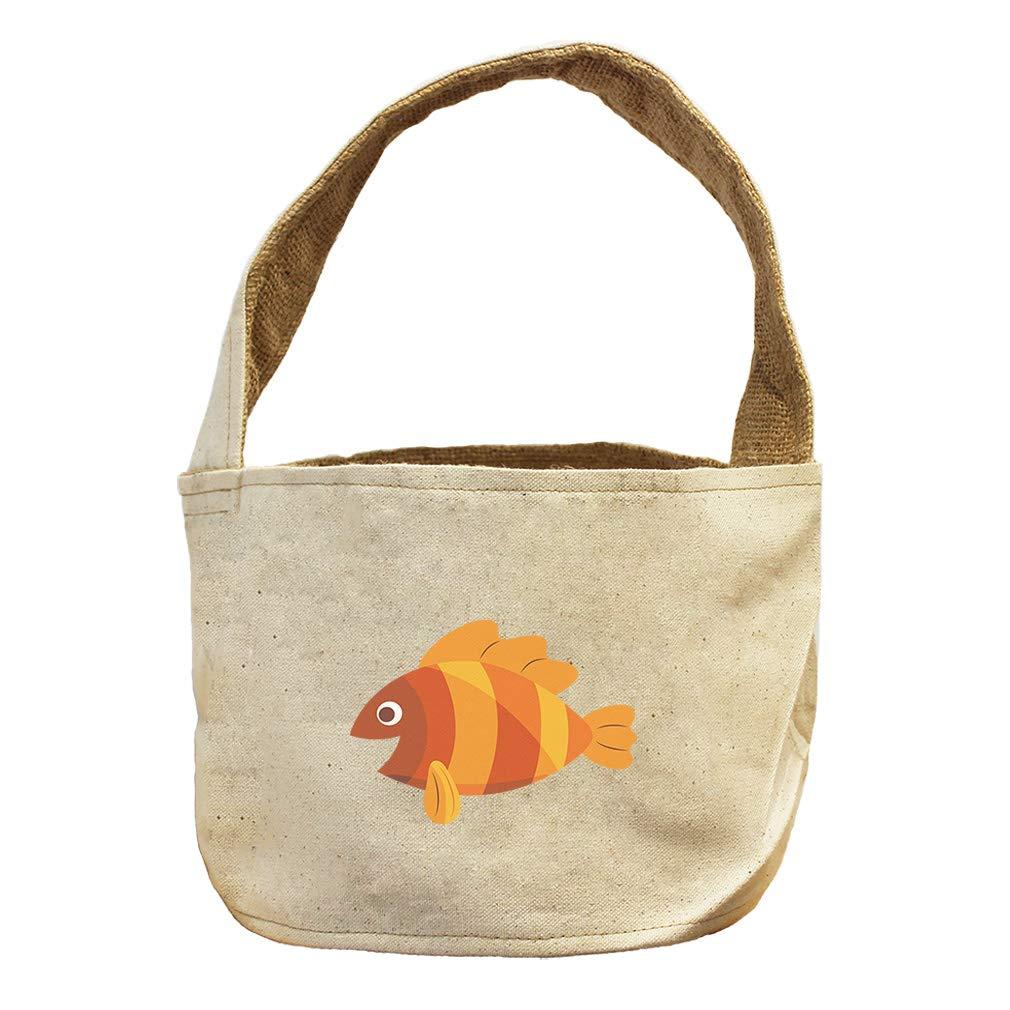 Orange Fish in Stripes Animals Canvas and Burlap Storage Basket