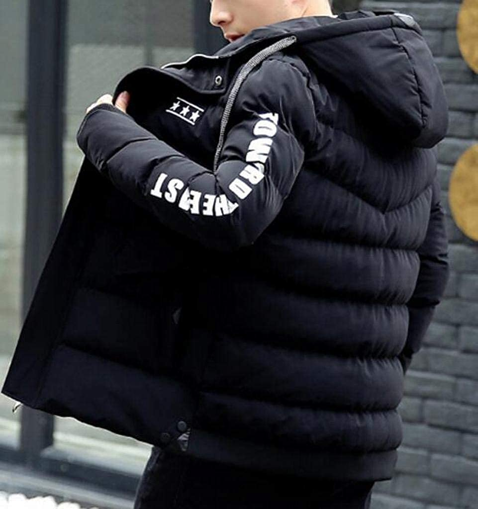 Fubotevic Men Warm Winter Letter Print Hoodie Down Quilted Coat Jacket Outwear