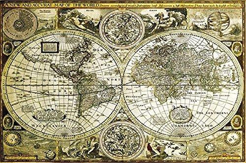 Buyartforless Historical World Map Antique Globes 1626 36x24