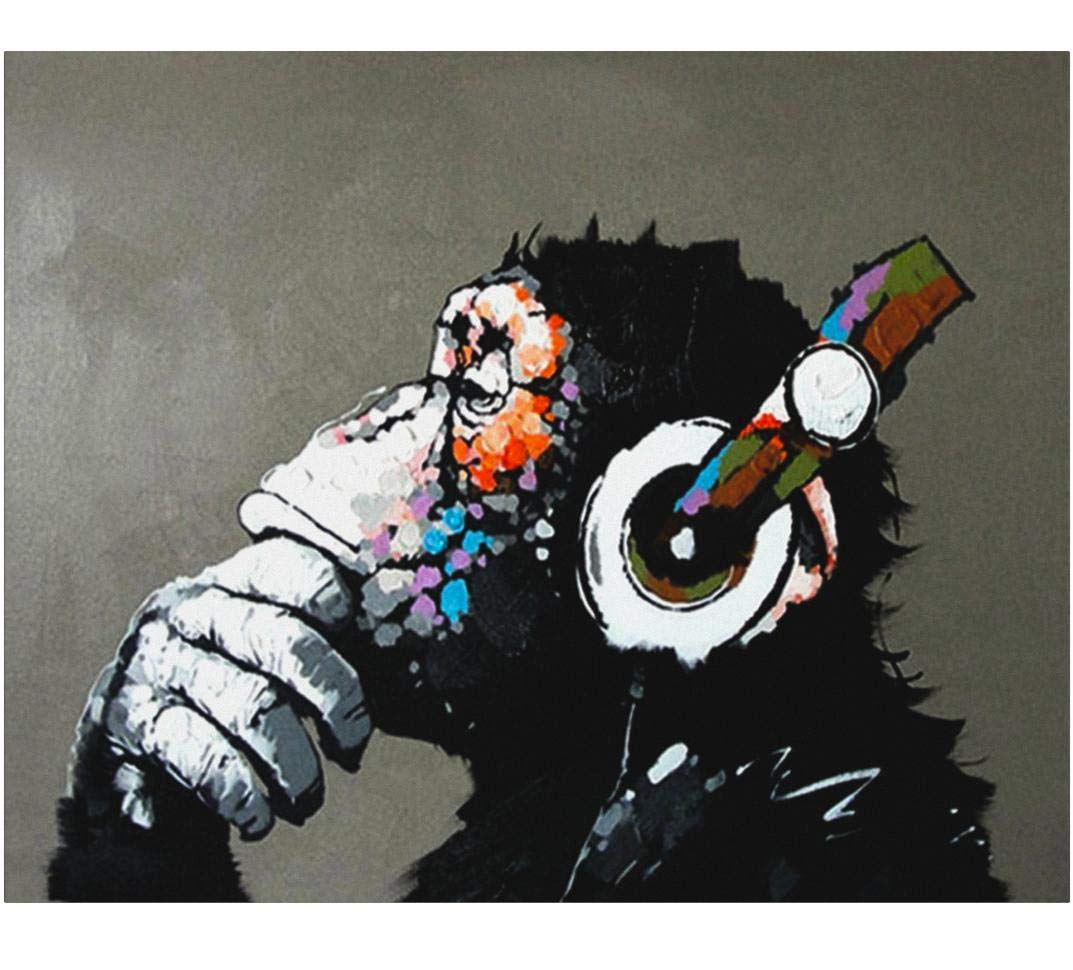 Fokenzary Hand Painted Oil Painting on Canvas Pop Art Cool Ape Listening Music with Headphone Framed Ready to Hang by Fokenzary
