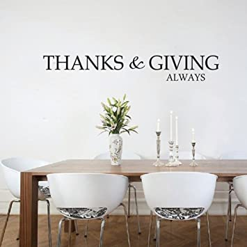 FlyWallD Thanksgiving Always Vinyl Wall Sticker Thankful Quotes Kitchen Dining Room Family Home Decals Door