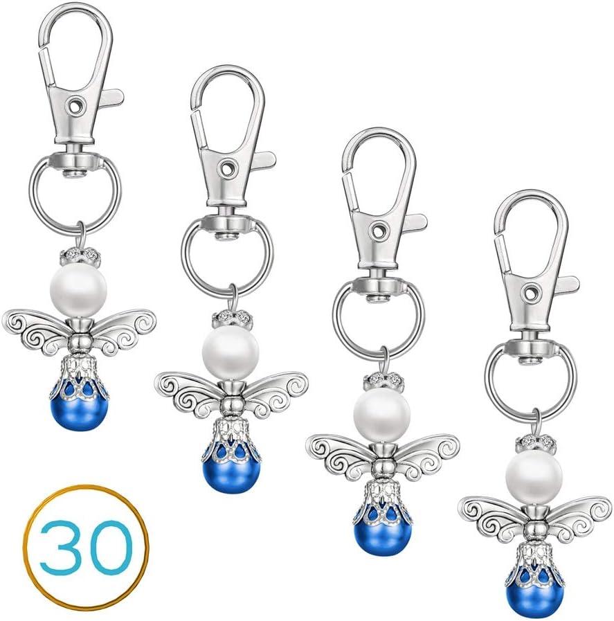 Lot de 30 porte-cl/és bleus pour bonbonni/ère de bapt/ême mariage