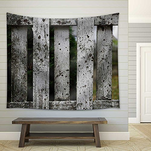 Close Ups of Aged White Fence Fabric Wall Tapestry