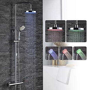 Homelody columna de ducha termostática Hitech iluminación Par LED ...