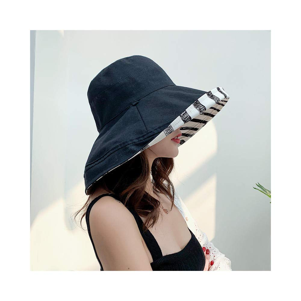 Ms. Summer Sun hat FishingCardiff Cap hat Sun hat Cap Double-Sided UV Protection hat Black/B 56-58cm