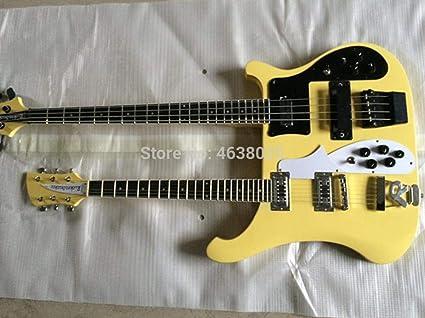Guitarra eléctrica de color amarillo claro, doble cuello 4003 bajo ...