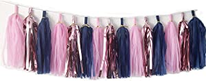 N/C Tissue Paper Tassels Paper Tassels Garland Banner Table Decor Party Tassels Banner Wedding Birthday Baby Shower Nursey Party Decorations Supplies (15, Rose Gold+Pink+Royal Blue)