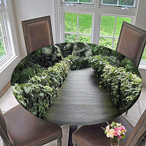 (Round Polyester Tablecloth Table Cover Scenic Wooden Pathway in Singapore Botanical Garden Fence Rainforest Tropical for Most Home Decor 55