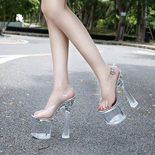 Plataforma Mujer Sandalias Transparente JESSI para de Vidrio MAIERNISI Alto tacón de con Transparente PwY5Hq