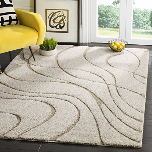 Safavieh Florida Shag Collection SG471-1113 Cream and Beige Area Rug (4' x 6')