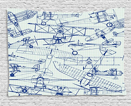 Ambesonne Airplane Tapestry, Old Airplane Drawings Classic Dated Flight Vintage Style Nostalgic Jets, Wall Hanging for Bedroom Living Room Dorm, 60 W X 40 L Inches, Royal Blue