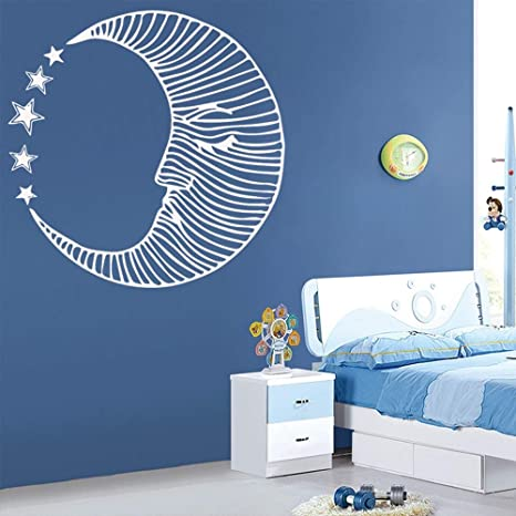 SLQUIET Moon Lotus Meditation Wall Decal Living Room ...