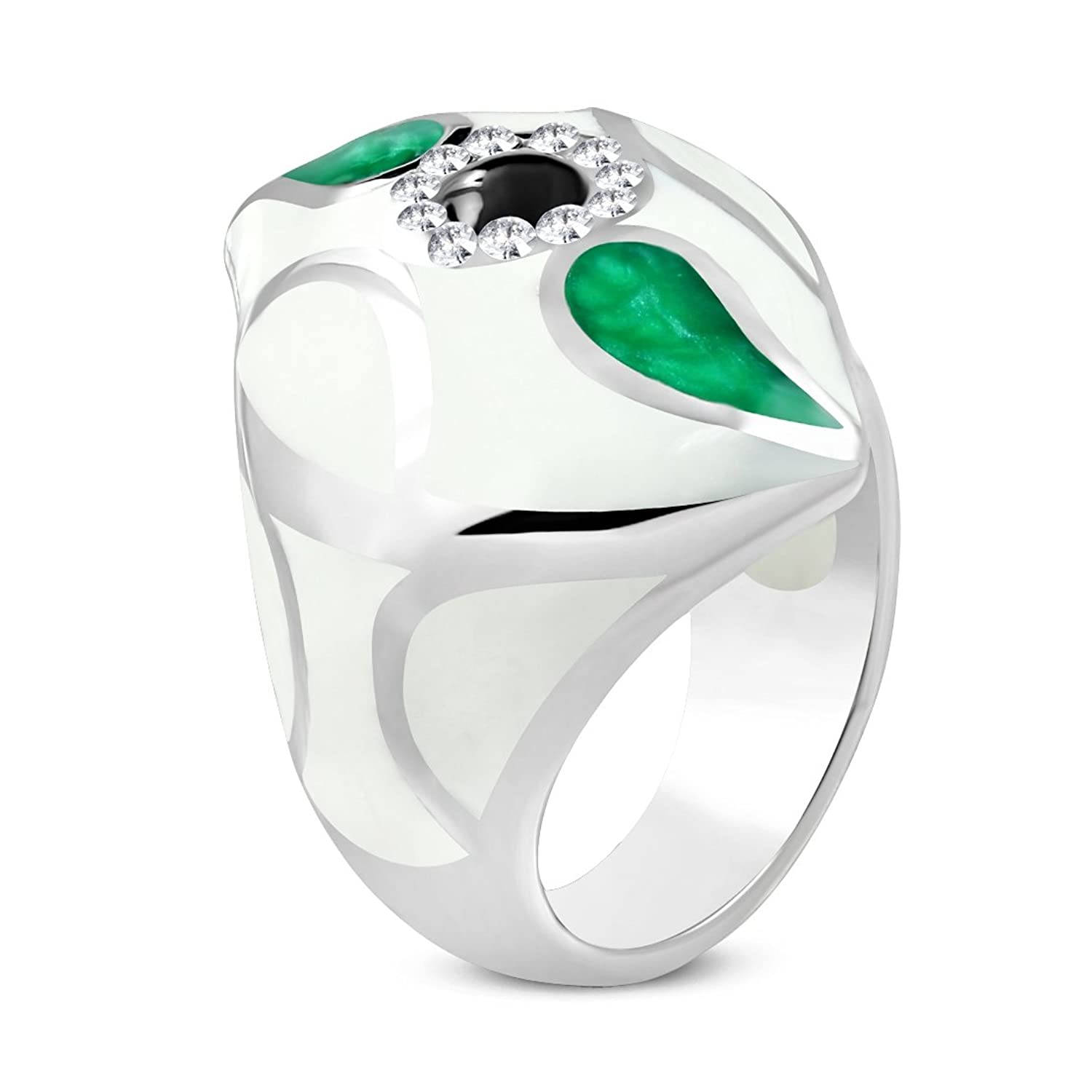Stainless Steel Colorful White Enameled Black Flower Oval Cocktail Dome Ring with Clear CZ