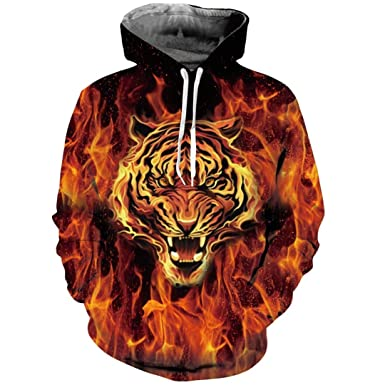 Fire Burning Tiger 3D Print Hoodie Sweatshirts Hoody Pullover Tracksuits Animal Men Women Hooded Tops S
