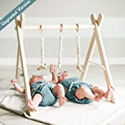 funny supply Wooden Baby Gym with 3 Gym Toys Foldable Baby Play Gym Frame Activity Center Hanging Bar Newborn Gift