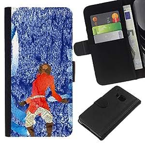 All Phone Most Case / Oferta Especial Cáscara Funda de cuero Monedero Cubierta de proteccion Caso / Wallet Case for HTC One M7 // Blue Red Abstract