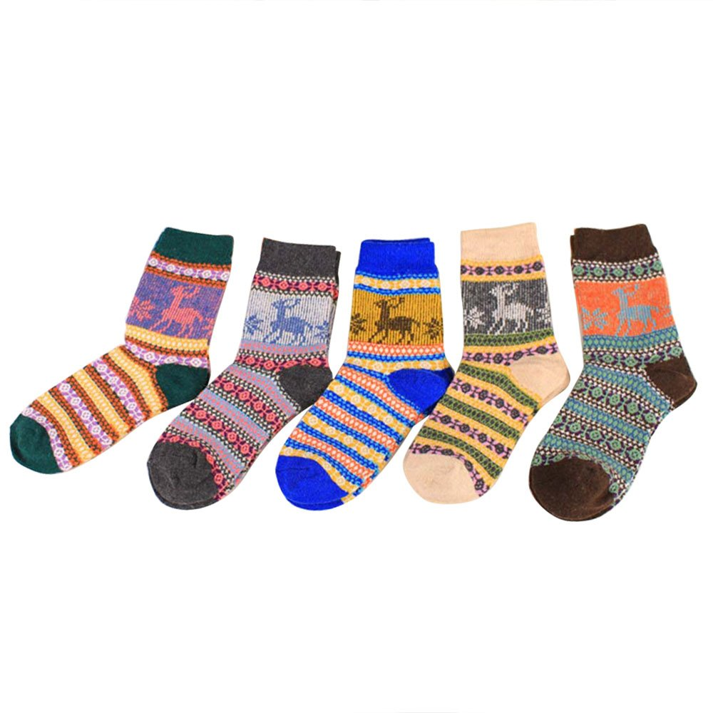 Thickened Socks for Women, Winter Warm Lady Deer Literary Ethnic Style Female Colorful Hosiery 5 Pair