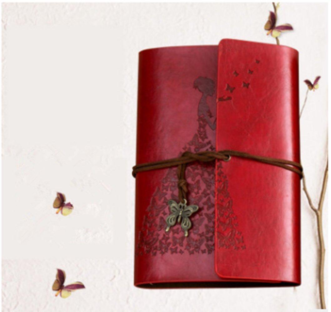 Caidi Carnet, Fille Papillon Carnet Bullet Carnet Dessin Cahier de Vacances Notebook Cuir Journal de Voyage Bloc Notes Carnet de Croquis, detachable papier kraft blanc 200 pages, Cadeau Anniversaire Mariage pour femme Maman, Mini(19 x 13cm), marron