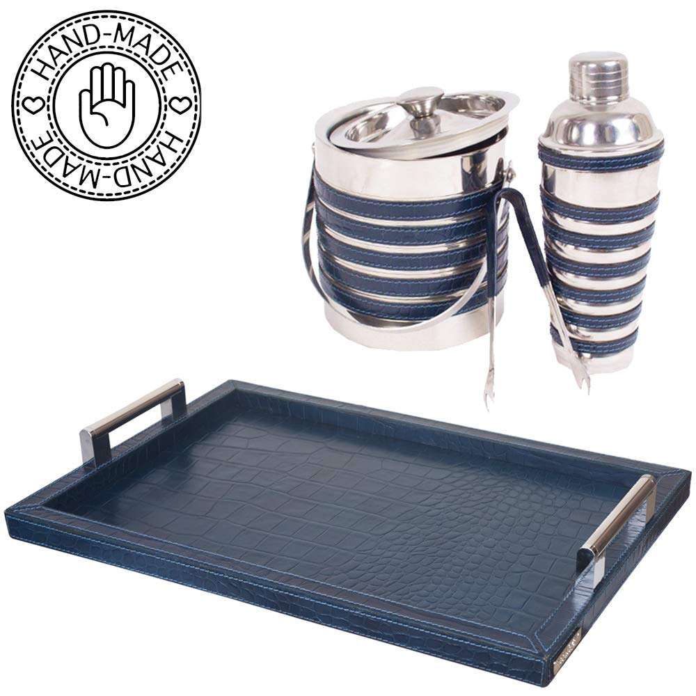 Bar set with ice bucket - 8 piece stainless steel kit with Cocktail Shaker, Ice bucket, Tongs, 4 Leather Coasters, 1 Italian Leather Tray - Handcrafted in Genuine leather by Three Sixty