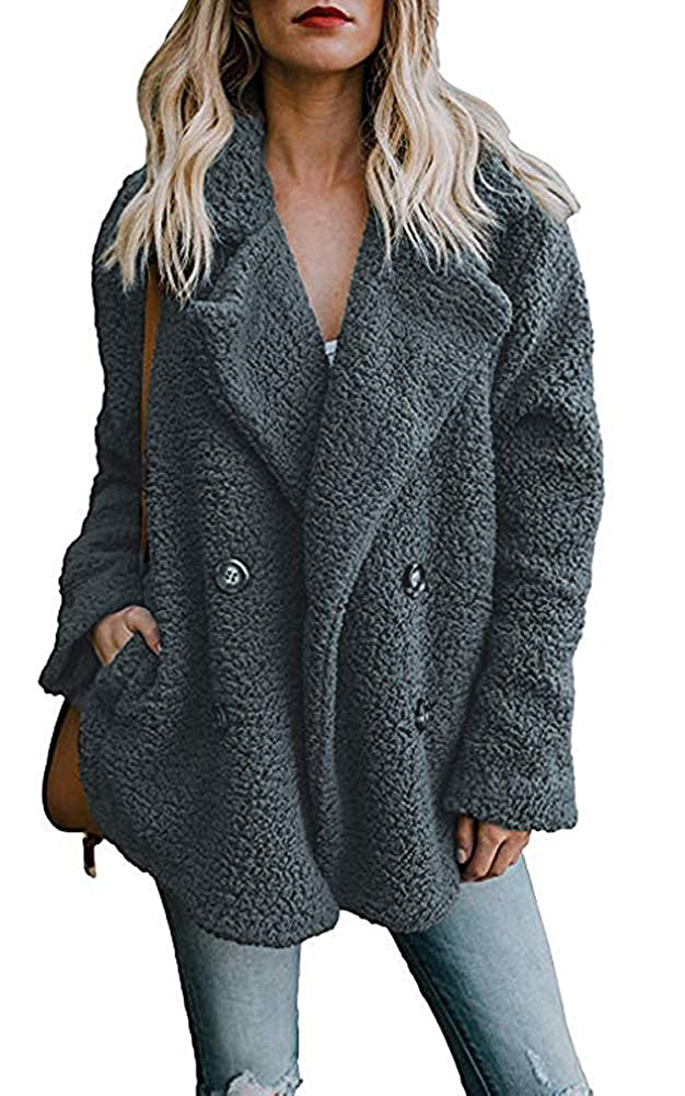OopStyle Womens Lapel Sherpa Fleece Open Front Coat with Pockets Outerwear