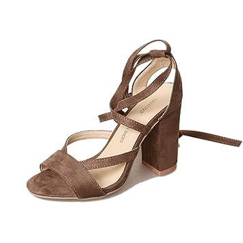Wawer Frauen Damen High Heels Schuhe Sandalen Ankle High Heels Block Party Offene