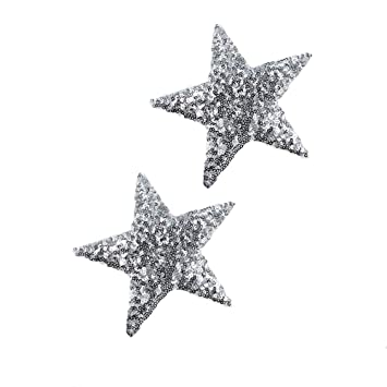 """Iron on Sequin Star Applique Patch Silver 2/"""""""