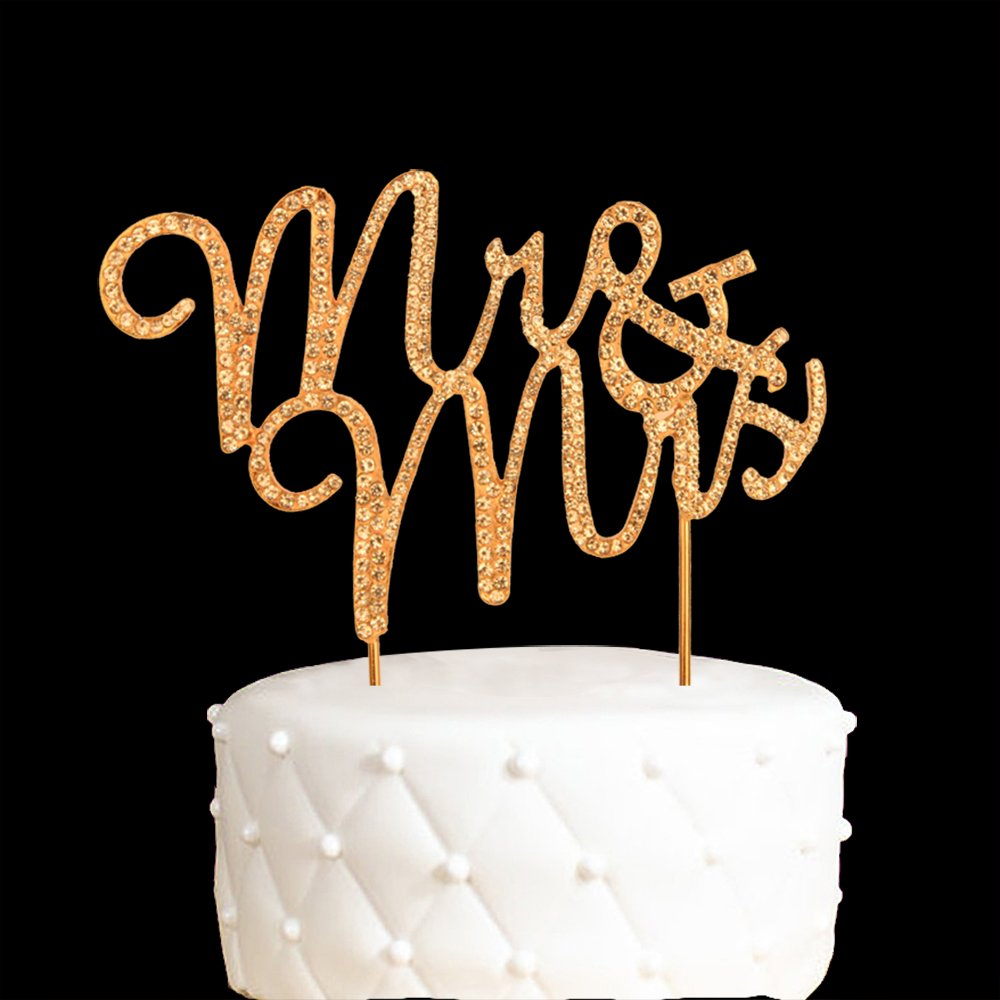 Mr and Mrs Cake Topper Anniversary Gold Crystal Rhinestone Party Decoration Gold