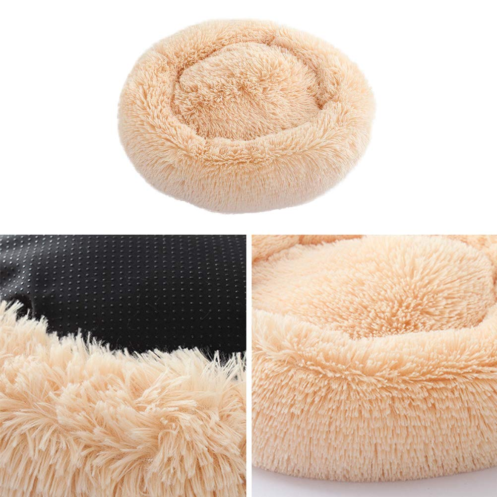 POPETPOP Luxury Shag Fur Donut Cuddler Round Cat and Dog Cushion Bed Self-Warming and Cozy for Improved Sleep (Big Size, Beige) by POPETPOP (Image #6)