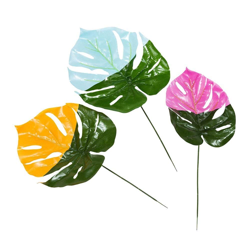 3 Pack FST4-TROPICAL-LEAVES Talking Tables Cuban Fiesta Block Color Paint-Dipped Decorative Leaves Multicolor