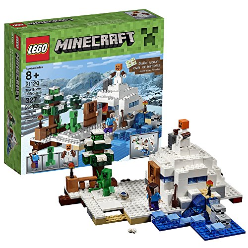 Lego Year 2016 Minecraft Series Set #21120 - THE SNOW HIDEOUT with Creeper, Snow Golem and Steve Minifigure (Pieces: 327)