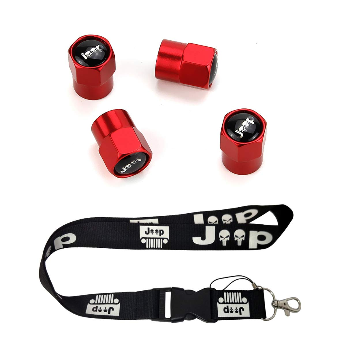 Vemblemm Design for Jeep Skull Punisher Skeleton Combo 1pc Lanyard Keychain /& 4pcs Wheel Tires Valve Stem Red Caps for Car Accessories Jeep Truck SUV RV Motorbike Bike Bicycle Badges Office ID
