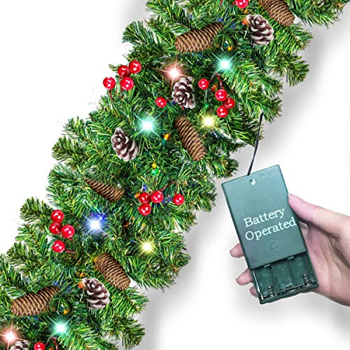 9 Feet By 10 Inch Christmas Lighted Garland with 50 Clolorful Lights [Battery Operated] 220 Branches Red Berries Pine Cones Silver Bristles Spruce for Xmas Indoor Outdoor Decor (Sale Christmas 2019 After Lush)