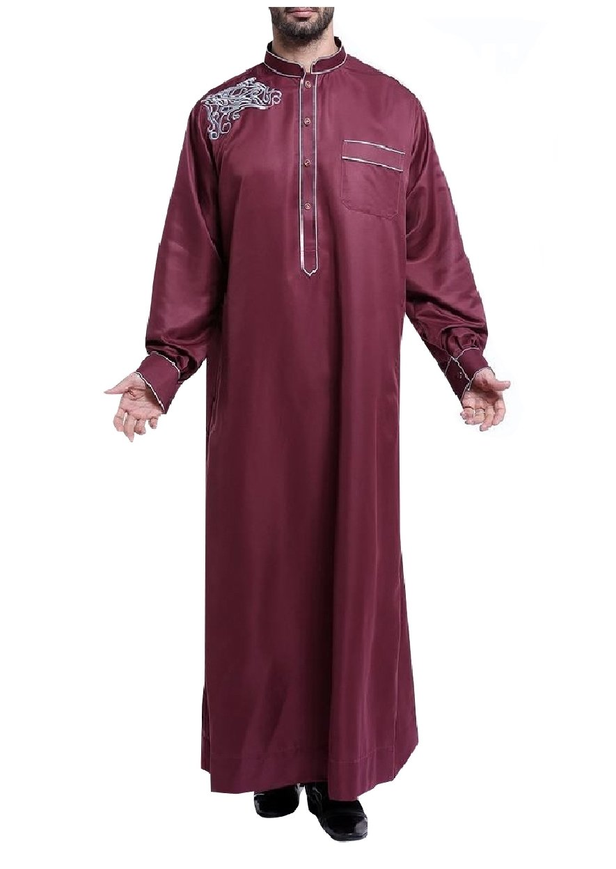 Tootless Men's Islamic Embroidery Long-Sleeve Muslim Thobes Dishdasha Wine Red XL