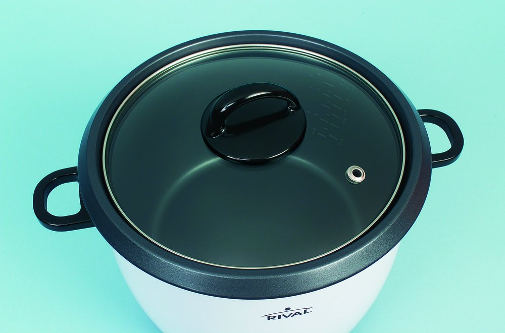 Rival 10-Cup Rice Cooker with Steamer Basket, White/Black (RC101) by Rival (Image #3)
