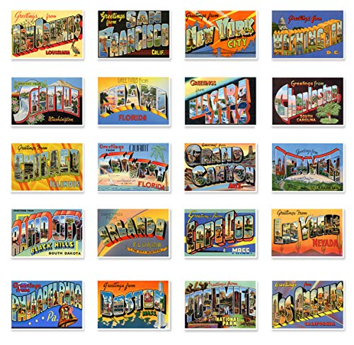 GREETINGS FROM popular US tourist destinations Large Letter vintage reprint postcard set of 20 postcards. Big letter vacation spots in the United States post card set (ca. 1930's-1940's). Made in USA.