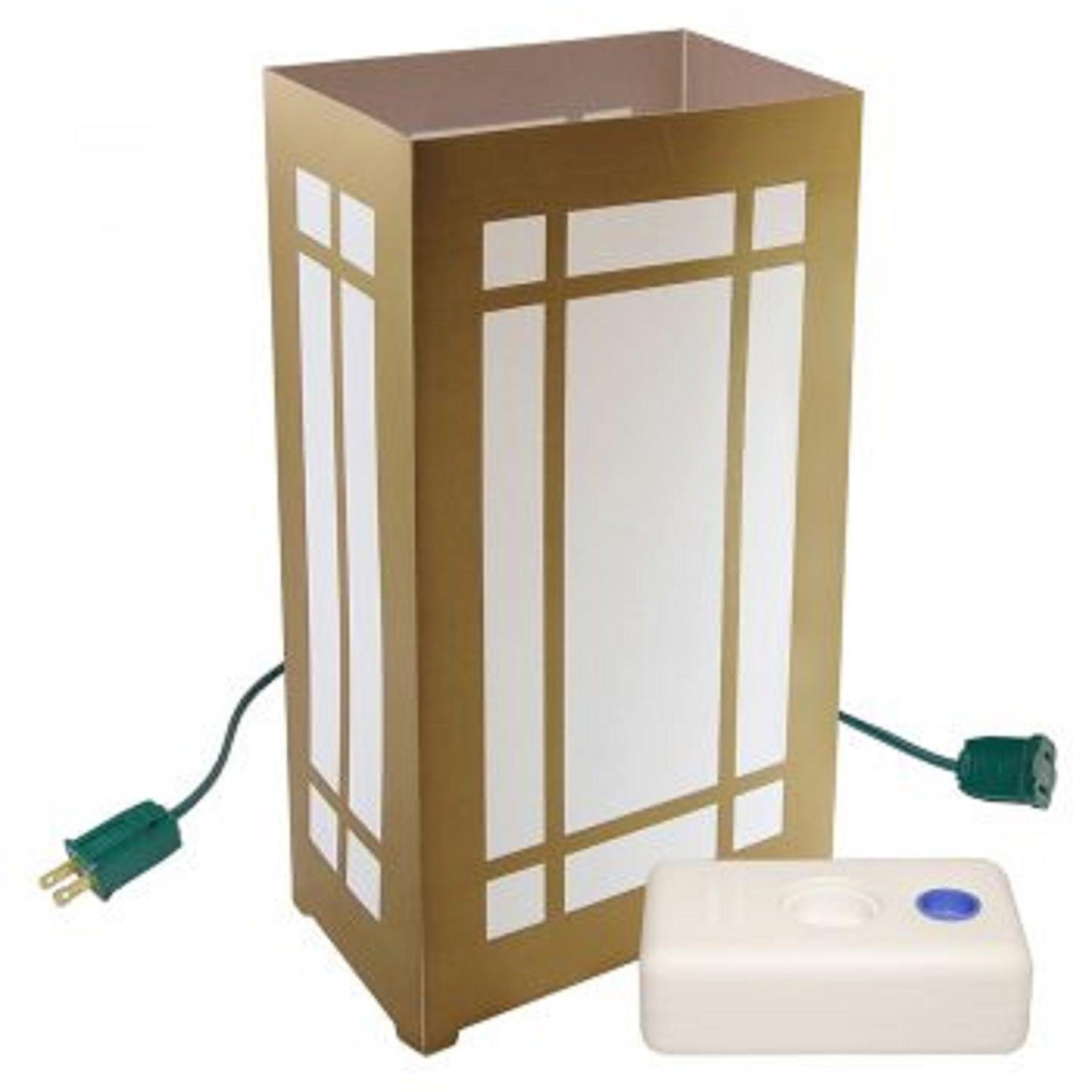 CC Home Furnishings Set of 10 Lighted Golden Lantern Luminaria Pathway Markers Kit with LumaBase