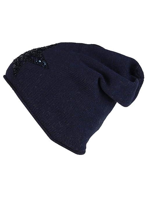 Kurt Koelln berretta in maglia donna cachemire stella paillette (blu ... 3ae2e44e1745