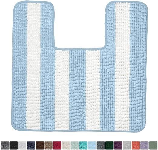 Blue Gorilla Grip Original Shaggy Chenille Square U-Shape Contoured Mat for Base of Toilet Machine Wash and Dry 22.5x19.5 Size Soft Plush Absorbent Contour Carpet Mats for Bathroom Toilets
