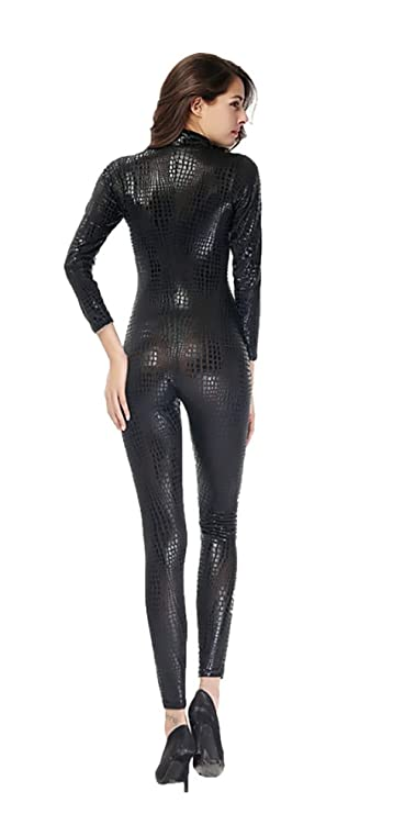 af9b35f6edb6 FUNFSEX Women Sexy Metal Black Gold Silver Snake Skin Faux Leather Zipper  Fornt Bandage Jumpsuit Bodysuit Catsuit Overall  Amazon.co.uk  Sports    Outdoors