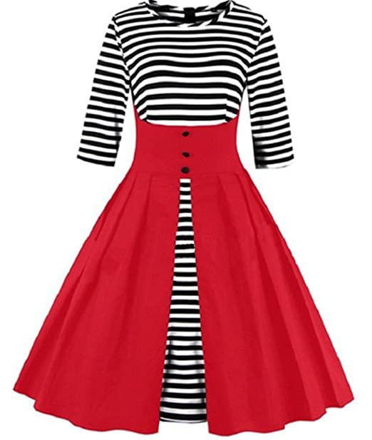 Tempt Me Womens Plus Size Vintage 1950s Pleated Black And White Stripe A Line Swing Cocktail Dress