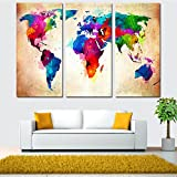 47 fireplace - TraveT Colorful World Map Oil Painting Print on Art Canvas Wall Art Decoration Set