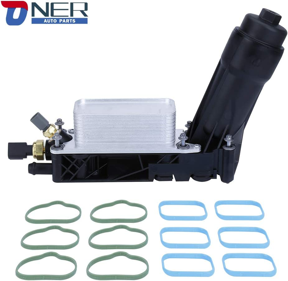 Engine Oil Cooler and Oil Filter Housing Adapter Assembly,Compatible With 2011-2013 Chrysler 200/300,Dodge Journey Charger Caravan And More,Replaces 5184294AE