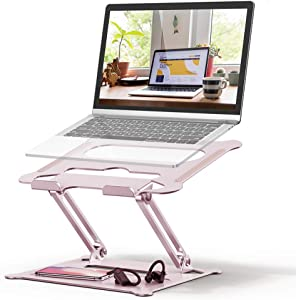Adjustable Laptop Stand, FYSMY Ergonomic Portable Computer Stand with Heat-Vent to Elevate Laptop, 13 Lbs Heavy Duty Laptop Holder Compatible with MacBook, Air, Pro All Laptops (Rose Gold)