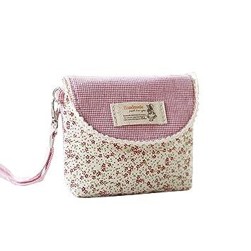 df53cb8659dd5 Dosige Mini Täschchen Leinwand Münzen Tasche mit Reißverschluss für Kinder  Mädchen und Damen Rosa