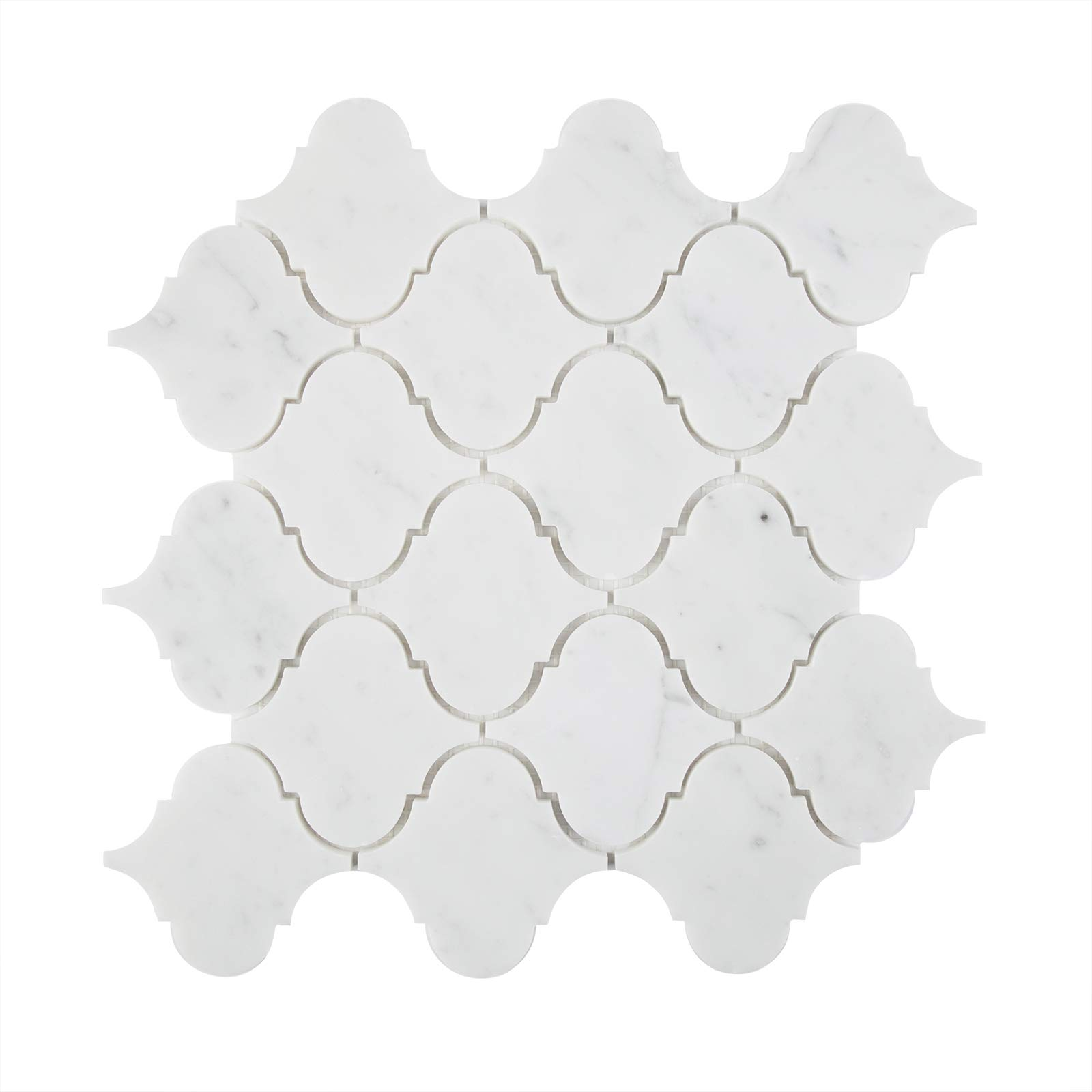 5 Pieces Marble Mosaic Tile,''Lantern Collection'', MM 9201A - Carrara White, 2-1/2''X2-1/2'' Big Arabesque, 11-1/2''X11-1/4''X5/16'', Polished (Box of 5 Sheets)