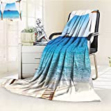 YOYI-HOME Cotton Thermal Duplex Printed Blanket,Through A Balinese Bed Summer Sunshine Clear Sky Honeymoon Natural Spa Picture Blue White Soft and Breathable Cotton/W59 x H47